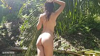 A Naked Girl Is Photographed In The Wild Jungle