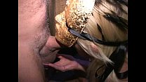 Big clit MILF in mask cums like crazy in Trapeze swinger club orgy thumbnail
