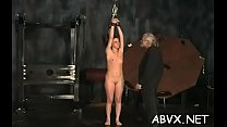Naked woman extreme slavery at home with horny man
