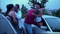 Pregnant girl and her 2 boyfriends in PUBLIC visited by other couple in car orgy Thumbnail