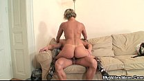 Hot mother in law enjoys cock riding Thumbnail