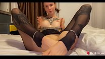 Babe Footjob Lover's Cock and Cowgirl in Torn Pantyhose - Cum on Face