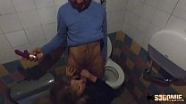 Real mature couple fuck in a restaurant's WC then go to a swinger club... صورة