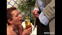 Old slut drinks piss and then gets fucked