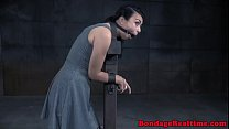 Restrained sub gets her asshole fingered