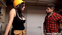 Sexy big boobs babe plays with the handymans big tool thumbnail
