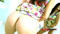 Exotic nympho Lucia Deville double anal training with a smile.