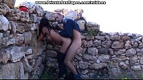 Lewd and cute amateur girlfriend fucked from behind outdoor