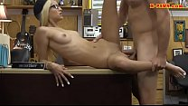Blondie with glasses fucked by pawn man