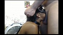 Masked Ebony hard Mouthfuck and Deepthroat