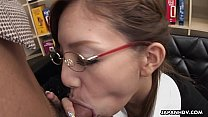 Stunning Japanese office lady gives her boss a hot blowjob