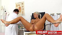 Beautiful blonde Nathaly Heaven vagina exam thumb