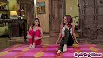 Lesbian besties licking pussies in a yoga session