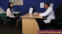 British office babe sucking dick for guy