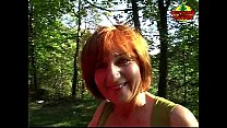 Brunette mature takes a hot facial outdoors
