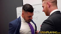 Bearded businessman hunk tearing up some tight butt