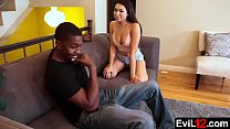 Cute stepsister gets fucked on the couch by a black stepbrother