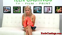 Casting teen gagging while being hardfucked thumbnail