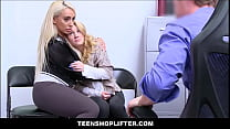 Tiny Blonde Teen Daughter Shoplifter & Her Big Tits MILF Mom Fucked By Store Manager thumbnail