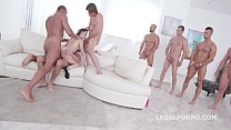 10 on 1 Gang Bang for ultra slut Gabriella Lati   10 Swallows! Preview