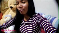 10 Weeks Pregnant Thai Teen Heather Deep gives blowjob and gets cum in mouth and swallows thumbnail