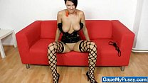 13006 Busty Nicoletta testing a metal pussy spreader preview