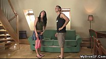 Cute brunette girl cheats with his brother!