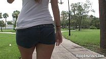 Two amateur chicks play lesbian games on the street