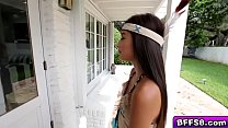 Flirty teen babe fucked in front of sexy BFFs