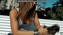 Horny redhead strips in public and fucks