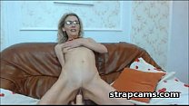 Blonde granny with glasses dildo riding On Webcam