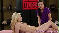 Lesbo babe queened by horny masseuse />