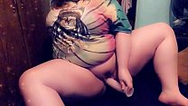 Pawg bbw plays with pussy while parents are in other room