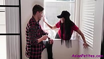 Asian Pizza Girl Stuck With Two Horny Customers- Ember Snow