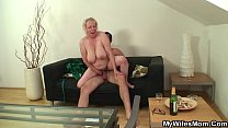 Busty wifes mother loves sucking and riding his cock preview image