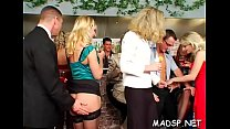 Cock hungry hotties suck and fuck in a gang bang scene