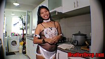 HEATHERDEEP.COM 19 week pregnant thai teen heather deep in maid outfits gives deepthroat and creamthroat in the kitchen