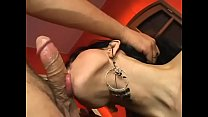 Long haired tranny deep throats a thick hard cock