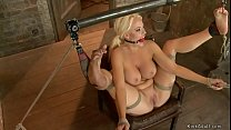 Huge tits blonde is gagged and caned