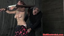 Tied up busty booty sub rimmed video