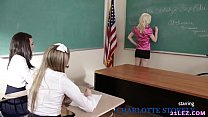 Schoolgirls play a game with their lesbian teacher - Charlotte Stokely, Scarlett Sage and Alex More thumbnail