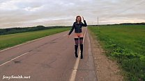 Jeny Smith public nudity on the road preview image