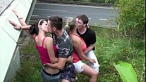 Big Tits Super Model Krystal Swift In Public Sex Foursome Orgy With 2 Guys