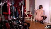 Brunette dick lover babe Marie Clarence sucks big cock through glory hole ◦ cassidy banks eyes thumbnail