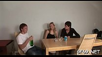 Juvenile and sweet darling is enticed to have threesome