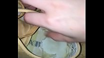 German Girl shows you old stinky shoes  and sweaty boots, sneakers, flats most worn shoes insoles see their footprints