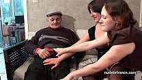 FFM Two french brunette sharing an old man cock... Thumbnail