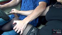 ⓵ Risky Public Handjob in Car and Cumshot at high Speed! - XSanyAny