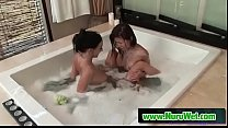 Asian Jackie Lin & Stephanie licking in jacuzzi