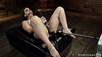 Gagged solo babe fucked by machine
